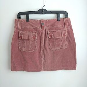 Early 2000s GLO Pink Corduroy Cargo Mini Skirt